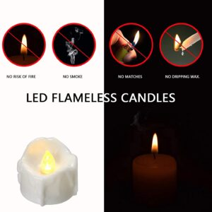 Battery Operated Timer Candles, 12 Packs LED Flameless Votive Tea Lights Candle for Christmas Thanksgiving Home Party Outdoor Decorations, 6 Hours On and 18 Hours Off Per Cycle – Warm White