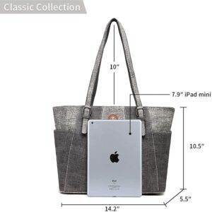 21-K Tote Bag for Women with Zipper Large Capacity Soft Faux Leather Purse Classic Water-Resistant Handbag