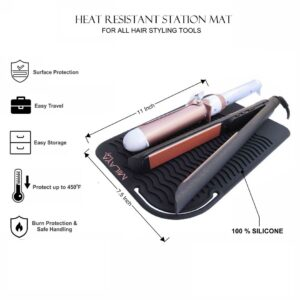 Professional Large Silicone Heat Resistant Styling Station Mat for All Hair Irons, Curling Iron, Straightener Pad, Iron Flat Hair, Hair Tools Appliances Hair Dryer Salon Tools Hair Stylist Black
