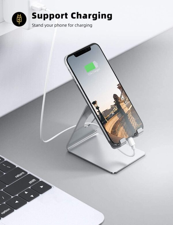 Lamicall Cell Phone Stand, Desk Phone Holder Cradle, Compatible with Phone 12 Mini 11 Pro Xs Max XR X 8 7 6 Plus SE, All Smartphones Charging Dock, Office Desktop Accessories - Silver