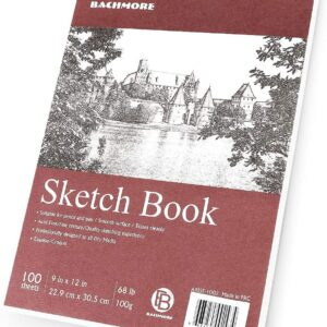Bachmore Sketchpad 9X12″ Inch (68lb/100g), 100 Sheets of TOP Spiral Bound Sketch Book
