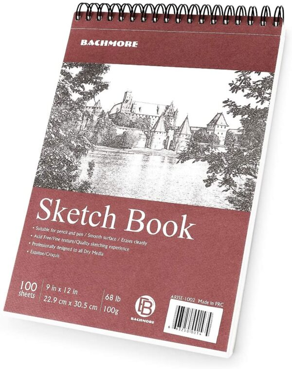"""Bachmore Sketchpad 9X12"""" Inch (68lb/100g), 100 Sheets of TOP Spiral Bound Sketch Book for Artist Pro & Amateurs 