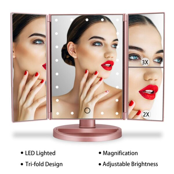 deweisn Tri-Fold Lighted Vanity Mirror with 21 LED Lights, Touch Screen and 3X/2X/1X Magnification, Two Power Supply Modes Make Up Mirror,Travel Mirror