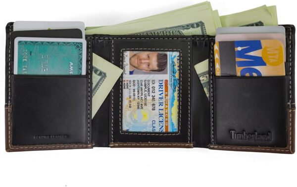 Timberland Mens Leather Trifold Wallet With ID Window, Black / Brown (Hunter), One Size