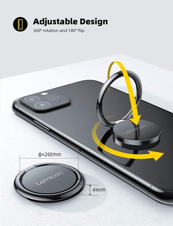 Cell Phone Ring Holder Finger Stand - Lamicall Phone Kickstand, Metal Grip Hook Work with Magnetic Car Mount, Compatible with Phone 12 Mini 11 Pro Xs Max XR X 8 7 6 6s Plus, Smartphone Accessories BLK