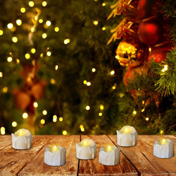 Battery Operated Timer Candles, PChero 12 Packs LED Flameless Votive Tea Lights Candle for Christmas Thanksgiving Home Party Outdoor Decorations, 6 Hours On and 18 Hours Off Per Cycle - Warm White