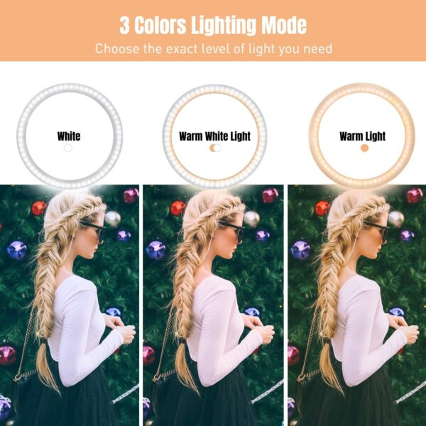 """10"""" Ring Light LED Desktop Selfie Ring Light USB LED Desk Camera Ringlight 3 Colors Light with Tripod Stand iPhone Cell Phone Holder and Remote Control for Photography Makeup Live Streaming (Natural)"""