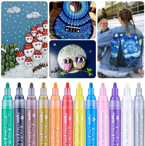 Acrylic Paint Marker Pens, Waterproof Paint Pens for Rocks Painting, Ceramic, Glass, Wood, Fabric, Canvas, Mugs, DIY Craft Making Supplies, Scrapbooking Craft, Card Making (24 colors)