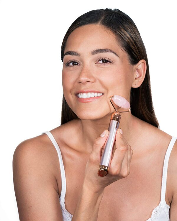Finishing Touch Flawless Contour Vibrating Facial Roller & Massager, Rose Quartz