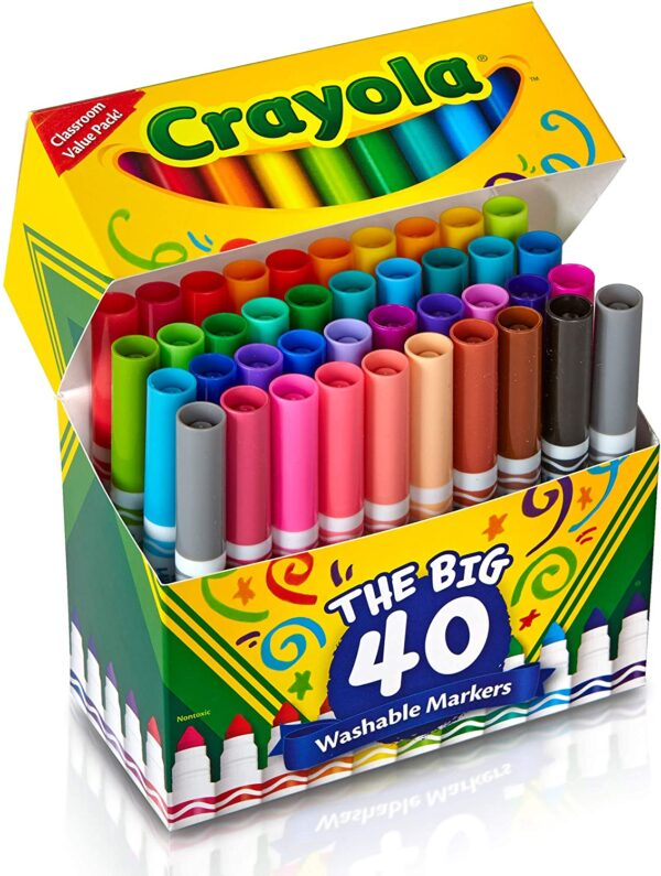 Crayola Ultra Clean Washable Broad Line Markers, 40 Classic Colors, Stocking Stuffers for Kids