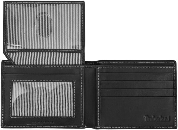 Timberland Men's Leather Wallet with Attached Flip Pocket, Black (Cloudy), One Size