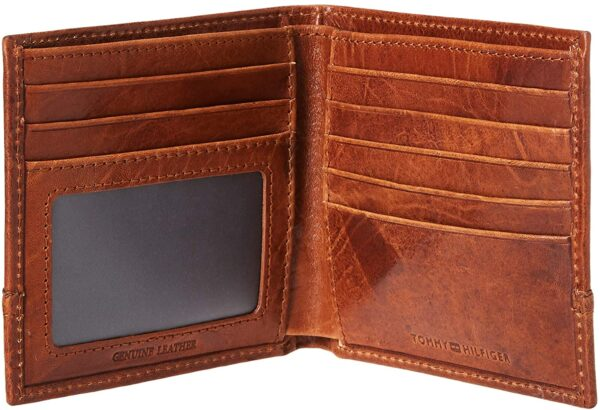 Tommy Hilfiger Men's Leather Wallet – Slim Bifold with 6 Credit Card Pockets and Removable Id Window